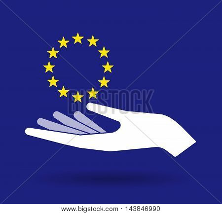 Isolated  Offerign Hand Icon With  The Eu Flag Stars