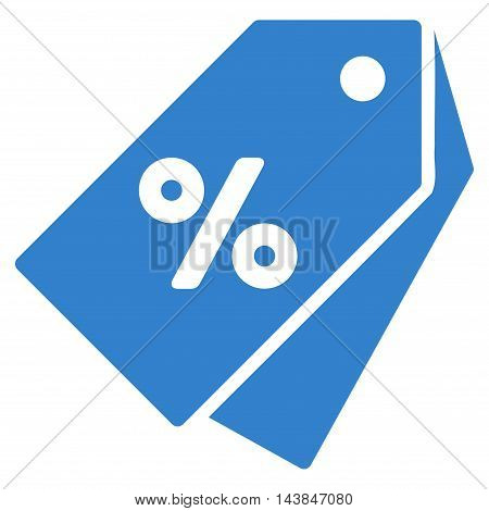 Percent Discount Tags icon. Vector style is flat iconic symbol with rounded angles, cobalt color, white background.