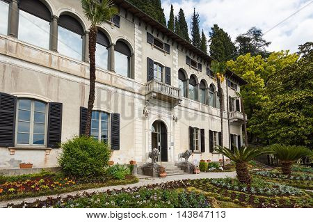 Varenna Italy - May 06 2016: The house in a garden of Villa Monastero spring time