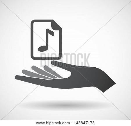 Isolated  Offerign Hand Icon With  A Music Score Icon