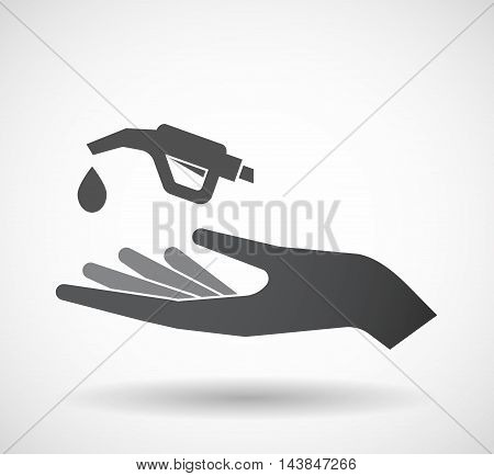 Isolated  Offerign Hand Icon With  A Gas Hose Icon