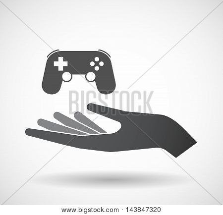 Isolated  Offerign Hand Icon With  A Game Pad