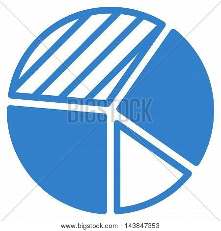 Pie Chart icon. Vector style is flat iconic symbol with rounded angles, cobalt color, white background.
