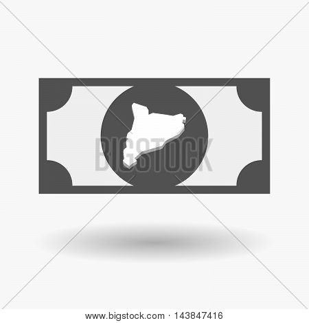 Isolated  Bank Note Icon With  The Map Of Catalonia