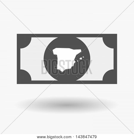 Isolated  Bank Note Icon With  The Map Of  Spain