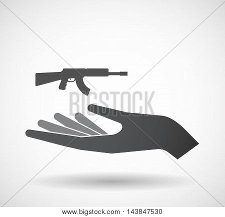 Isolated  Offerign Hand Icon With  A Machine Gun Sign