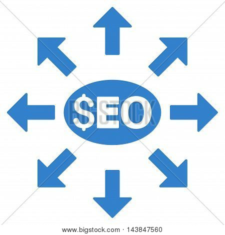Seo Distribution icon. Vector style is flat iconic symbol with rounded angles, cobalt color, white background.