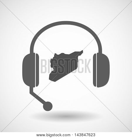 Isolated  Hands Free Headset Icon With  The Map Of Syria