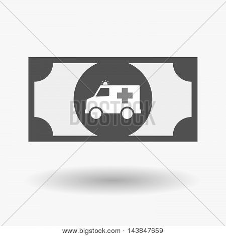 Isolated  Bank Note Icon With  An Ambulance Icon
