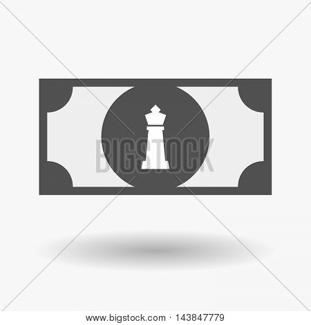 Isolated  Bank Note Icon With A  King   Chess Figure