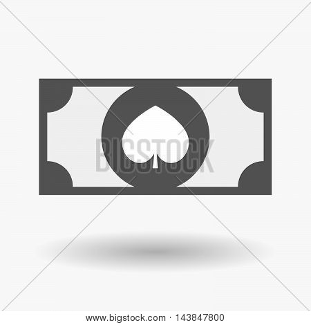 Isolated  Bank Note Icon With  The  Spade  Poker Playing Card Sign