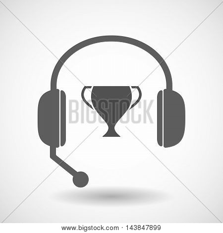 Isolated  Hands Free Headset Icon With  An Award Cup