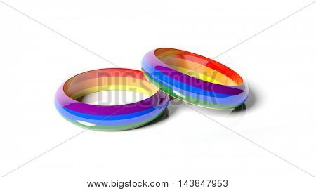 3d rendering two rings in gay flag colors