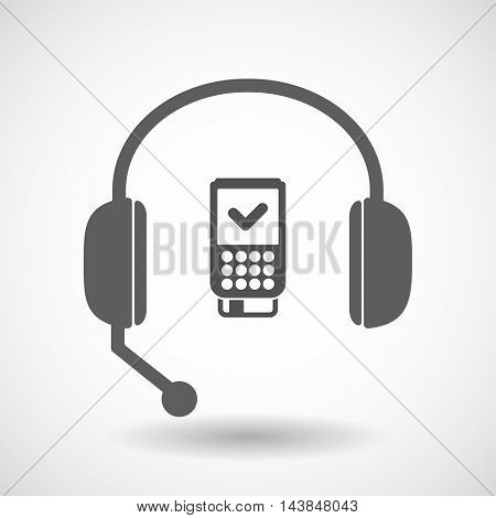 Isolated  Hands Free Headset Icon With  A Dataphone Icon