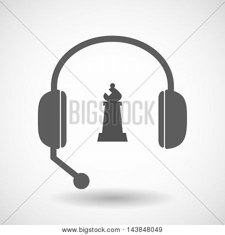 Isolated  Hands Free Headset Icon With A Bishop    Chess Figure