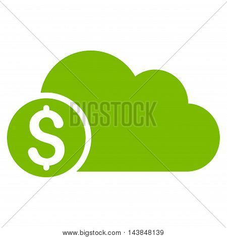 Banking Cloud icon. Vector style is flat iconic symbol with rounded angles, eco green color, white background.