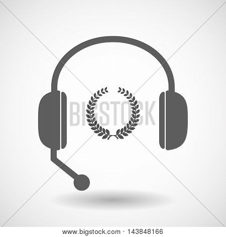 Isolated  Hands Free Headset Icon With  A Laurel Crown Sign