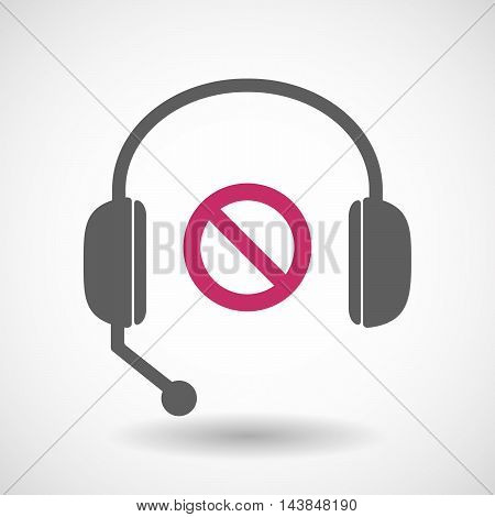 Isolated  Hands Free Headset Icon With  A Forbidden Sign