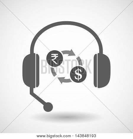 Isolated  Hands Free Headset Icon With  A Rupee And Dollar Exchange Sign