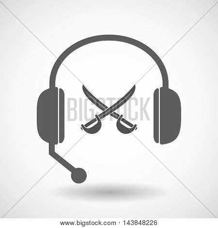 Isolated  Hands Free Headset Icon With  Two Swords Crossed