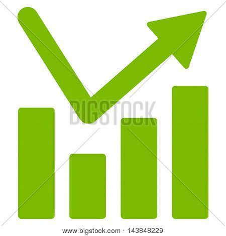 Bar Chart Trend icon. Vector style is flat iconic symbol with rounded angles, eco green color, white background.