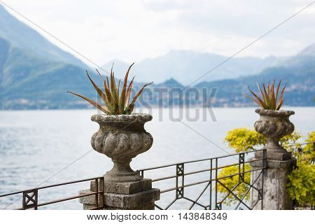 Flower beds on the shores of Lake Como in Varenna Italy