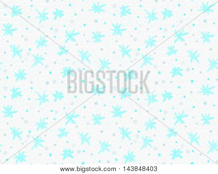 Painted Blue Snowflakes With Dots