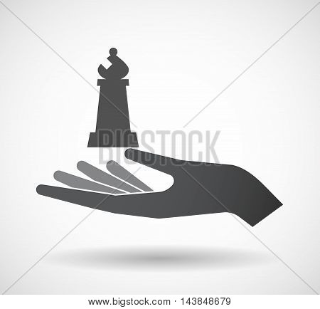 Isolated  Offerign Hand Icon With A Bishop    Chess Figure