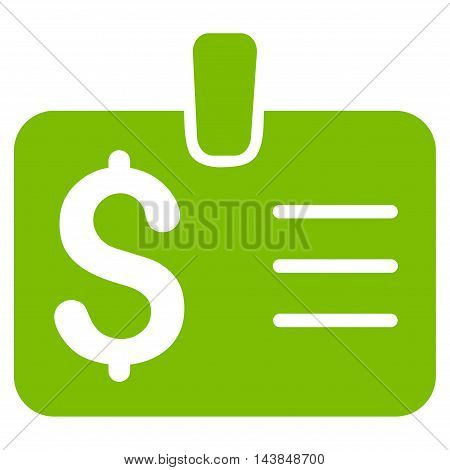 Dollar Badge icon. Vector style is flat iconic symbol with rounded angles, eco green color, white background.