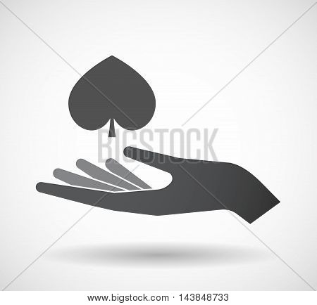 Isolated  Offerign Hand Icon With  The  Spade  Poker Playing Card Sign