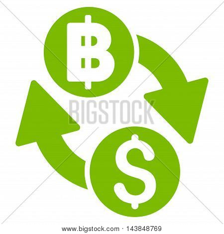 Dollar Baht Exchange icon. Vector style is flat iconic symbol with rounded angles, eco green color, white background.