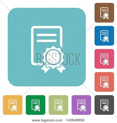 Flat certificate icons on rounded square color backgrounds.