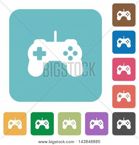 Flat game controller icons on rounded square color backgrounds.
