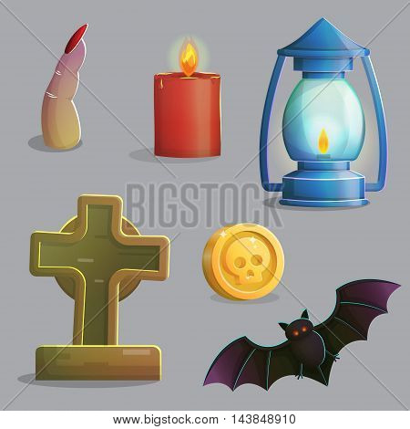 A collection of items spooky graveyard items and design elements for game and app design. Gravestone, ancient lantern, vampire bat, zombie finger and other.