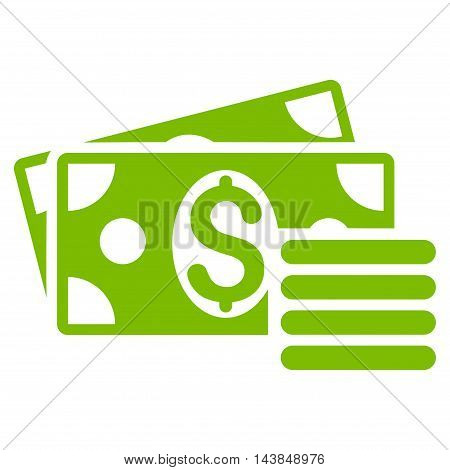 Dollar Cash icon. Vector style is flat iconic symbol with rounded angles, eco green color, white background.
