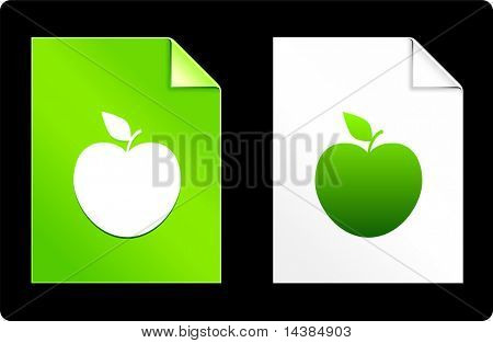 Apple on Paper Set Original Vector Illustration AI 8 Compatible File