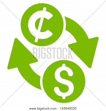 Dollar Cent Exchange icon. Vector style is flat iconic symbol with rounded angles, eco green color, white background.