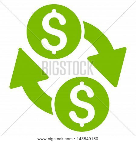 Dollar Exchange icon. Vector style is flat iconic symbol with rounded angles, eco green color, white background.