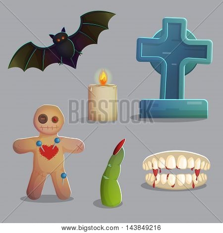 A collection of items spooky graveyard items and design elements for game and app design. Gravestone, voodoo doll with needles, vampire bat, zombie finger and other.