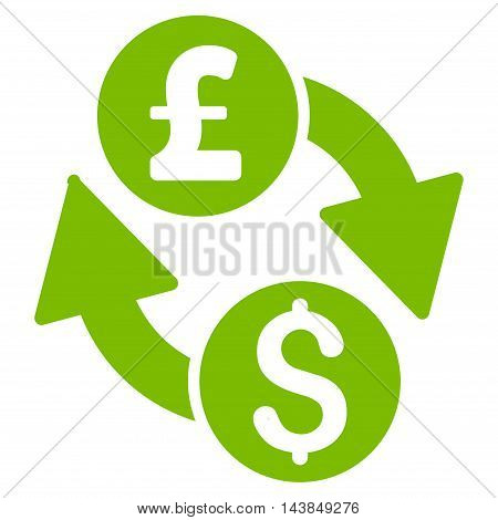 Dollar Pound Exchange icon. Vector style is flat iconic symbol with rounded angles, eco green color, white background.