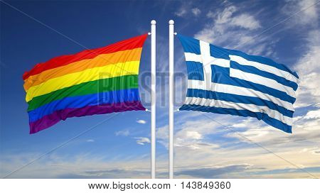 3d rendering rainbow colors flag with Greece flag