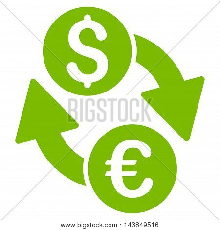 Euro Dollar Exchange icon. Vector style is flat iconic symbol with rounded angles, eco green color, white background.