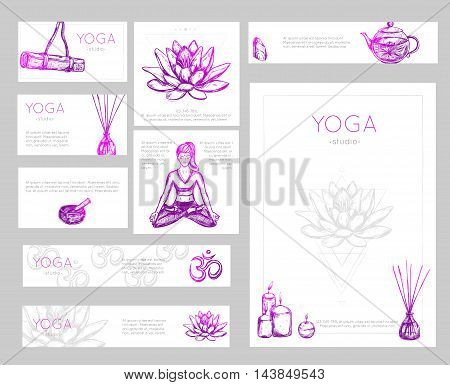 Colored yoga flyer design with yoga studio descriptions and place for text vector illustration