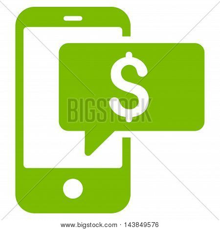 Money Phone SMS icon. Vector style is flat iconic symbol with rounded angles, eco green color, white background.