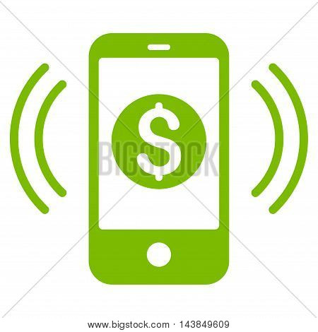 Payment Phone Ring icon. Vector style is flat iconic symbol with rounded angles, eco green color, white background.
