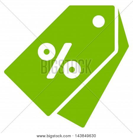Percent Discount Tags icon. Vector style is flat iconic symbol with rounded angles, eco green color, white background.
