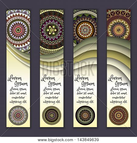 Colorful Ornamental Ethnic Banner Set. Templates With Wavy Elements And Tribal Mandala.