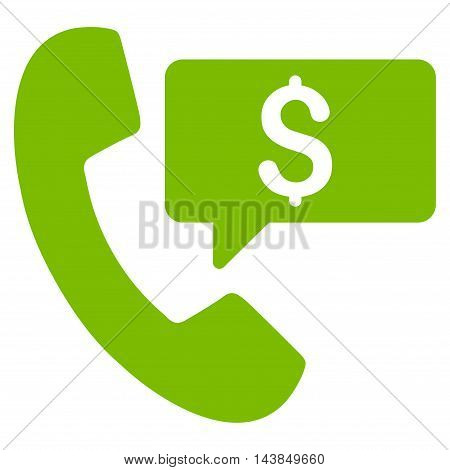 Phone Order icon. Vector style is flat iconic symbol with rounded angles, eco green color, white background.