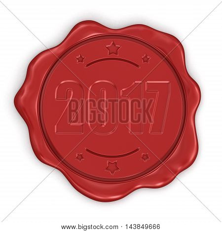 3D Illustration. Wax Stamp 2017.  Image with clipping path