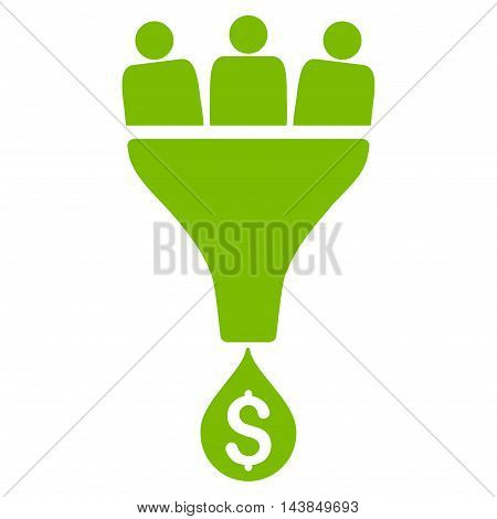Sales Funnel icon. Vector style is flat iconic symbol with rounded angles, eco green color, white background.